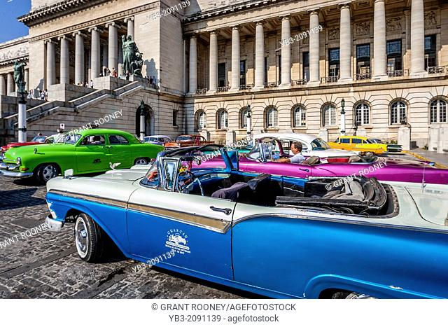 Classic American Cars In Front Of The National Capitol Building, Havana, Cuba