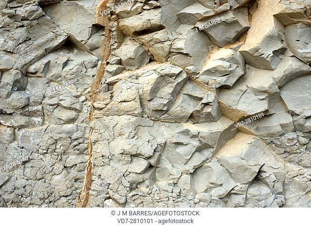 Marl or marlstone is a sedimentary rock composed of limestone (calcium carbonate) and clay (mudstone). This photo was taken in Portitxol, Alicante