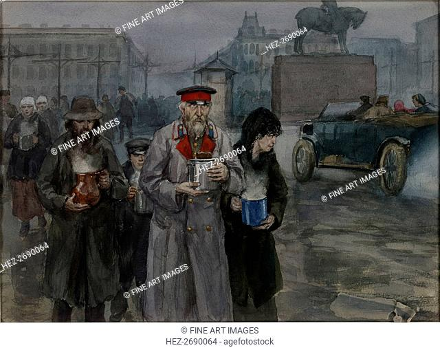 Hungry years in Petrograd. Return from a communal soup kitchen, 1919