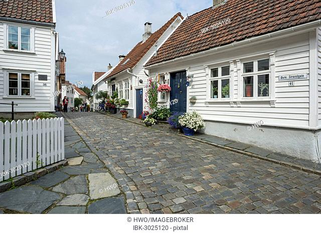 White wooden houses with floral decorations, historic lane with cobblestones in the historic town centre, Övre Strandgate, Altstadt, Stavanger, Rogaland