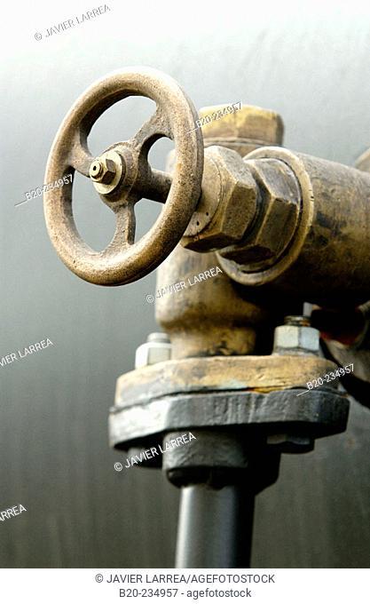 Detail of valve, museum of railway history. Azpeitia. Guipúzcoa, Euskadi. Spain