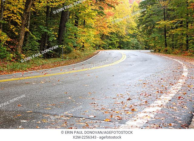Route 118 in Woodstock, New Hampshire USA during the autumn months