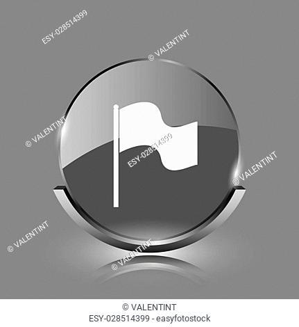 Flag icon. Shiny glossy internet button on grey background