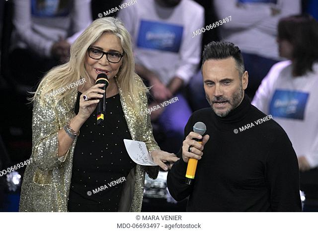 Italian host Mara Venier and italian singer Nek during the episode of Domenica In dedicated to 69th Sanremo Music Festival