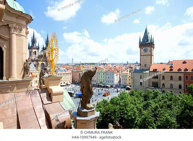 Czech Republic, Prague - Town Hall and Tyn Church at The Old Town Square