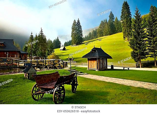 Ruzomberok - Cutkovska Valley: An old horse carriage in the area of entrance to Cutkovska valley. Tourist center, original traditions, relaxation place