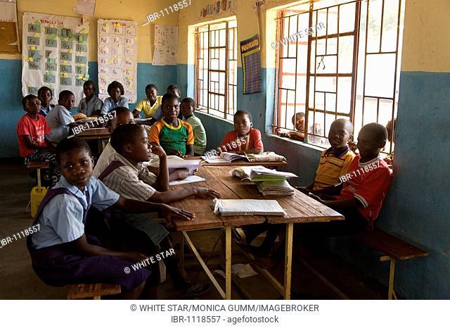 Village school, Mukuni village, Southern Province, Republic of Zambia, Africa