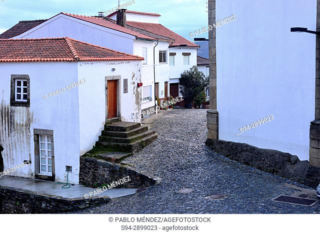 Square of Matriz church in Old Town of Vinhais, Portugal