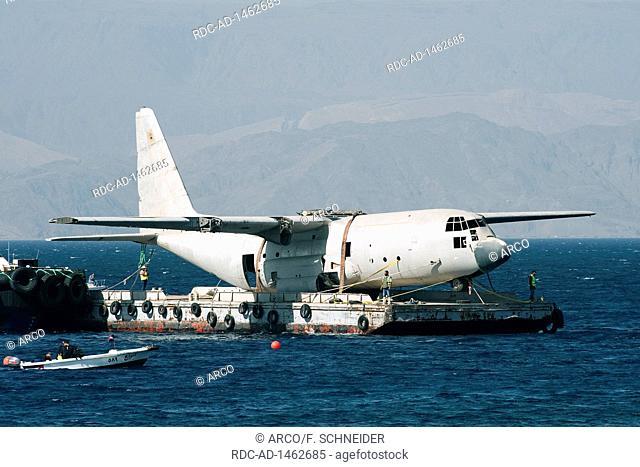 plane before scuttled for divers, C130, C-130 Hercules, Aqaba dive site, Aqaba, Jordan, Minor Asia, Asia