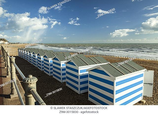 Beach huts in Hastings, East Sussex, England