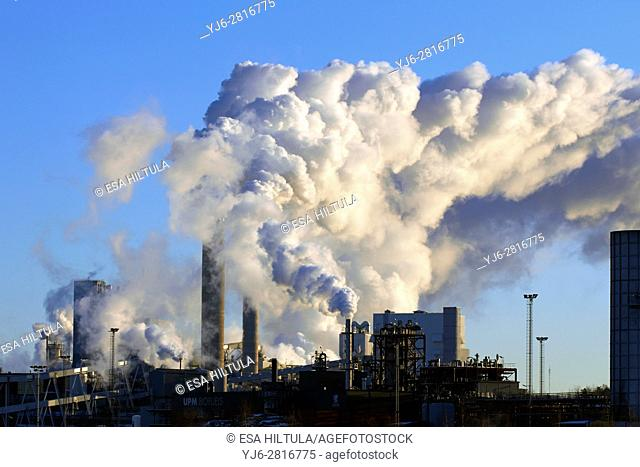 Paper and pulp factory smokes on cold winter day, Lappeenranta Finland
