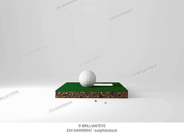 3d rendering of cross section from golf course with ball and hole on it