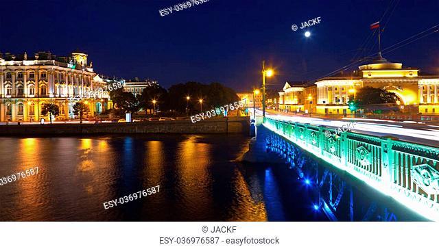 View of St. Petersburg. Palace Bridge in night