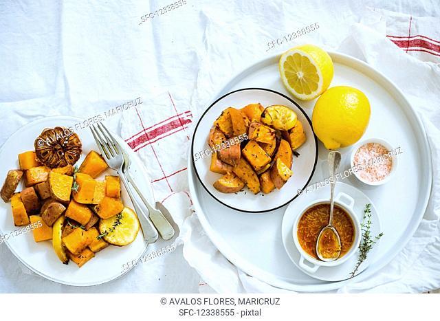 Fried sweet potatoes with lemon sauce