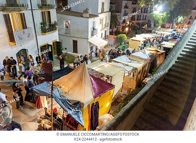 Medieval street market, Medieval Party, Dalt Vila, Old Town, Ibiza, Balearic Islands, Spain, Mediterranean, Europe