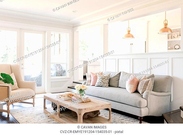 Interior living room with neutral tones and white walls