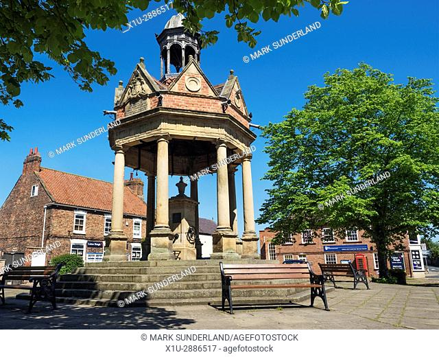 The Fountain Water Pump in St James Square at Boroughbridge, Yorkshire, England