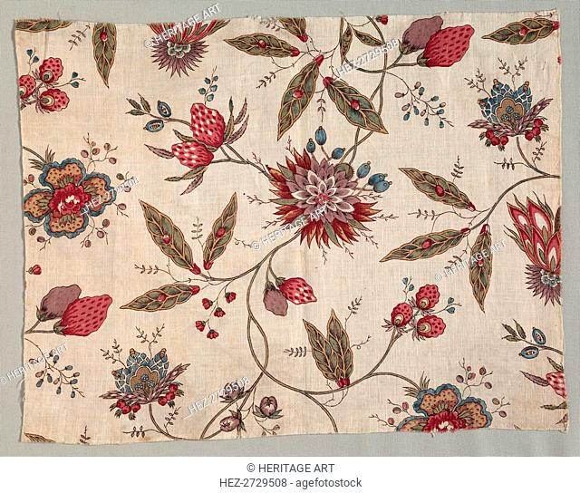 Fragment of Block Printed Cotton, c. 1785. Creator: Unknown