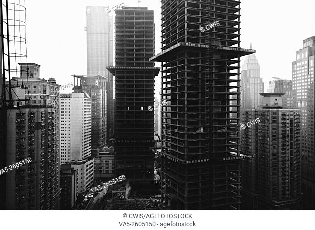 Chongqing, China - The view of many skyscrapers at Yuzhong Peninsula in black and white