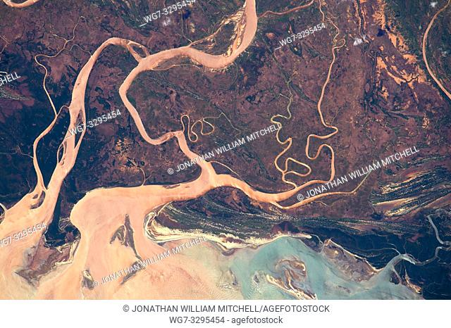 EARTH Madagascar -- 12 Apr 2015 -- An astronaut took this photograph of muddy floodwaters and distributary channels in the northern sector of the Tsiribihina...