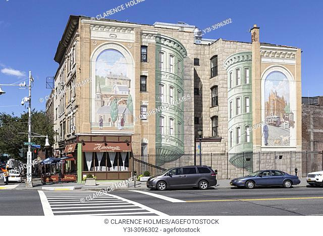 "One of the """"Gateway to Waterfront"""" murals on a building wall in the Richard Haas Mural Historic District in Yonkers, New York"