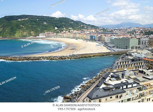 View over Zurriola beach in Donostia, San Sebastian, Basque Country, Spain