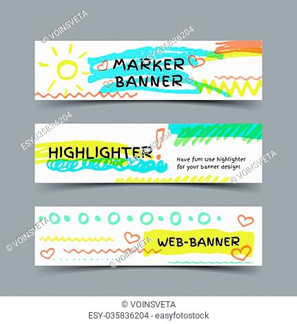 Marker spots banner. Set of three vector web banners with highlighter strokes and elements