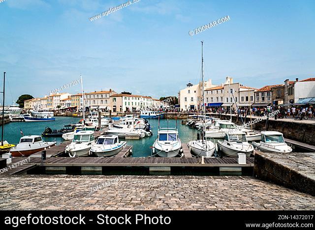 Saint Martin de Re, France - August 7, 2018: The quays of Saint Martin de Re. Island of Re