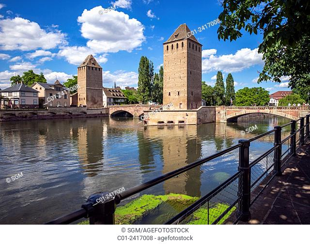 Watchtowers of Ponts-Couverts bridge La Petite France Strasbourg Alsace France