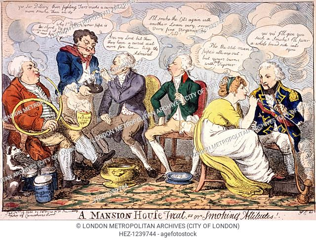 'A Mansion House treat - or smoking attitudes', London, 1800. On the right Lord Nelson, smoking a long pipe, phallic in design