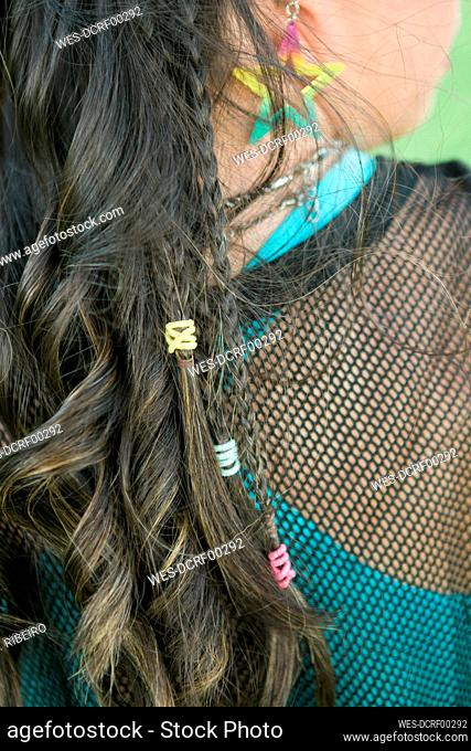 Hair of teenager girl with down syndrome
