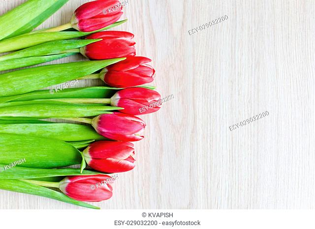 Red tulips are on the table 1