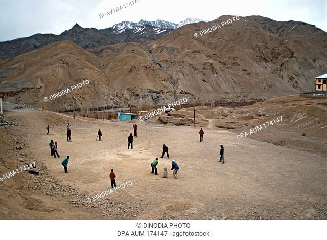 Boys playing cricket ; Wakha Wado village ; Kargil ; Leh ; Ladakh ; Jammu and Kashmir ; India 9-April-2008