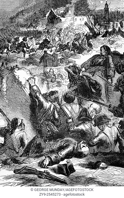 The destruction in 1696 of Givet in the Ardennes department of northern France, close to the Belgian border. In a well-orchestrated raid