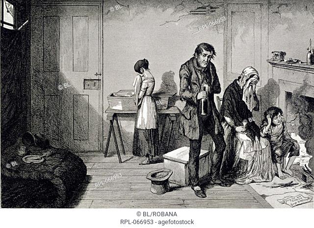 A poor family in their living room. Image taken from The Bottle, and the Drunkard's Children. In sixteen plates designed and etched by G. Cruikshank.