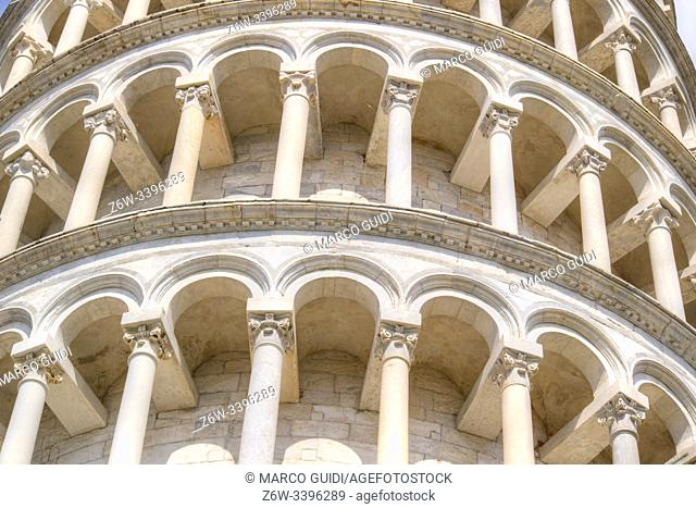 Construction and architectural details of the famous Leaning Tower of Pisa Italy