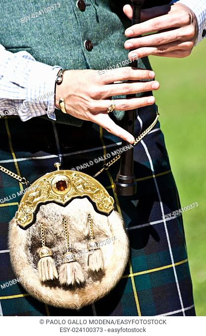 Detail of a bagpipe exibition during Highland Games
