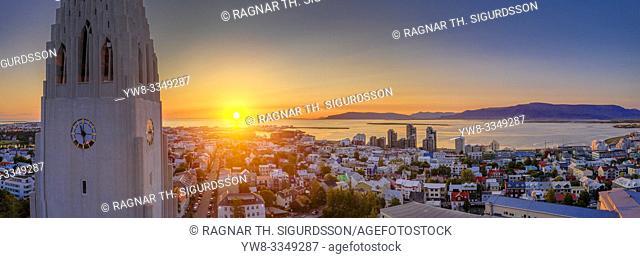 Midnight Sun, Hallgrimskirkja Church, Reykjavik, Iceland. This image is shot using a drone