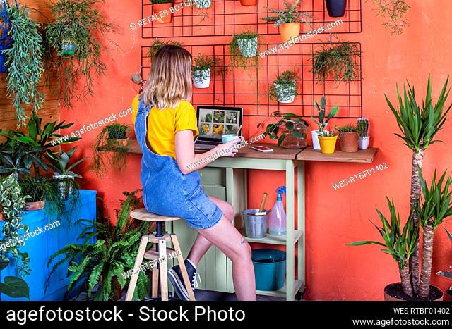 Woman using laptop on her terrace