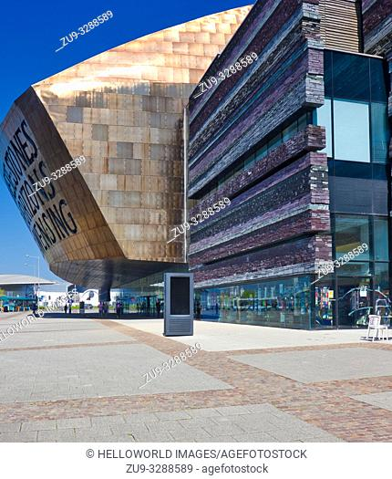 Wales Millennium Centre, Cardiff Bay, Cardiff, Wales, United Kingdom. Opened in 2004 the exterior includes 1350 tonnes of welsh slate