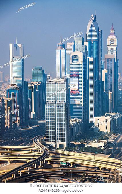United Arab Emirates UAE , Dubai City ,Down town skyline, Sheikh Zayed Road