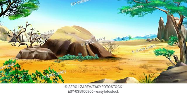 African landscape with blue sky and big stones in a Summer Day. Digital Painting Background, Illustration in cartoon style character