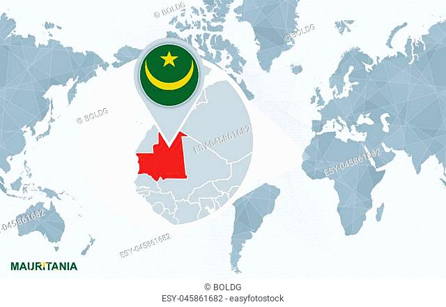 World map centered on America with magnified Mauritania. Blue flag and map of Mauritania. Abstract vector illustration