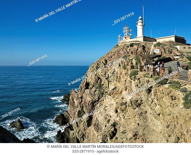 Cabo de Gata lighthouse. Almeria. Andalucia. Spain. Europe