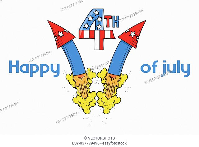 Drawing Art of 4th of July Fireworks Banner Vector Illustration