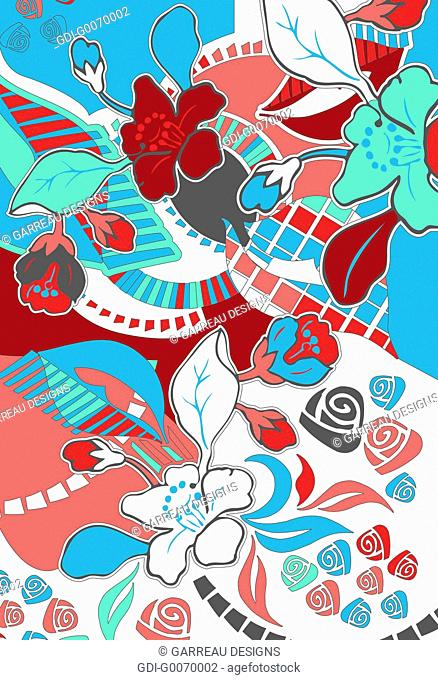 Red, white and blue tropical flower design