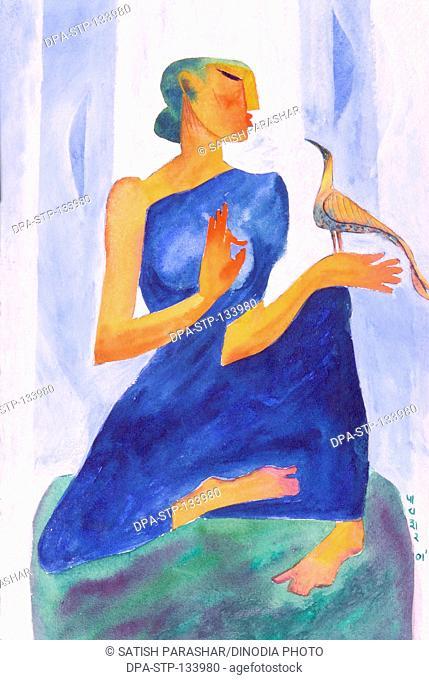 Gossiping woman in blue sari with bird watercolor in handmade paper