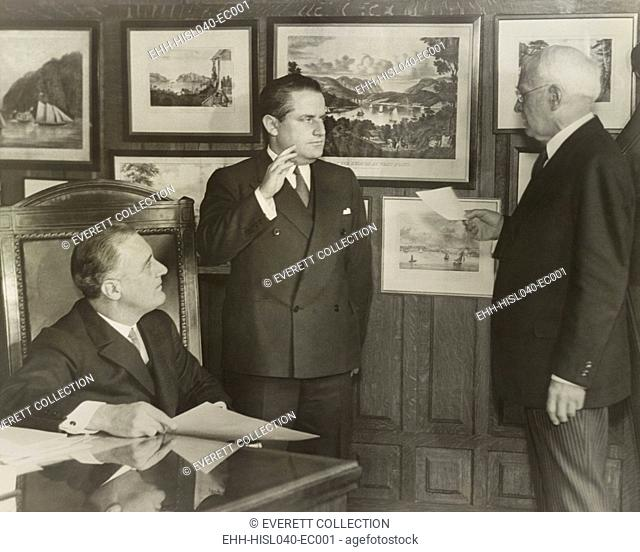 Samuel Irving Rosenman sworn in as New York State Supreme Court justice. March 24, 1932. At left is Governor Franklin Roosevelt for whom Rosenman wrote speeches...