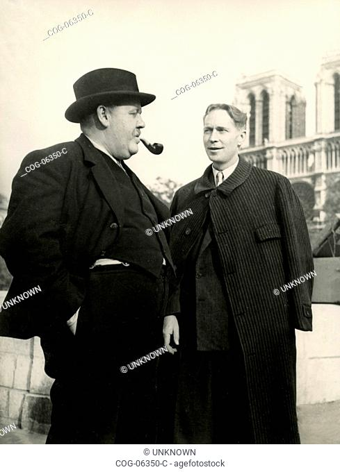 The British actor Charles Laughton and Franchot Tone American actor in a scene from the film The Man on the Eiffel Tower, 1949