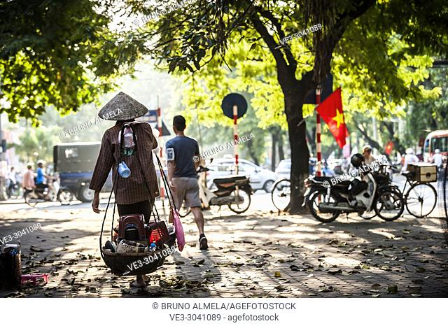 Vietnamese street vendor in Hanoi, Vietnam